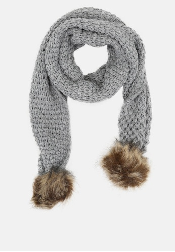 London Rag grey Scarf with Faux Fur Pom Poms 980A5AAE4C3BBEGS_1