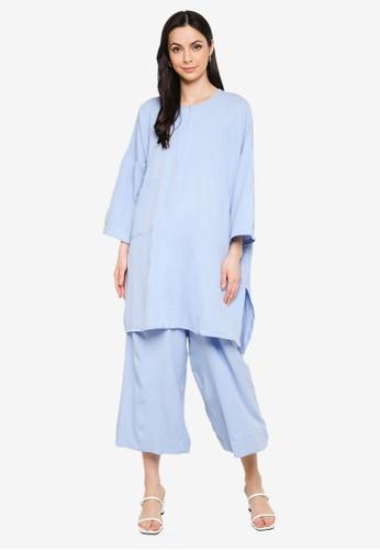 Butik Sireh Pinang blue Mawar Blouse Loose Pocket Suit 56736AA8108EE1GS_1
