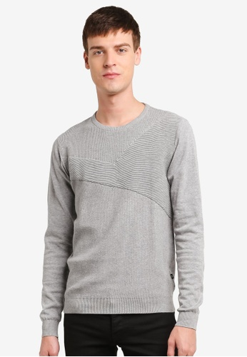 !Solid grey Kalvin Cross Knit Sweater SO701AA0S8T2MY_1