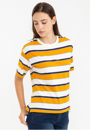 Bossini yellow Short Sleeve Striped Tee 58485AAA743EB3GS_1
