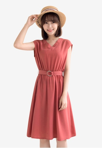 Tokichoi red Belted Basic Dress 3E336AA90E8B52GS_1
