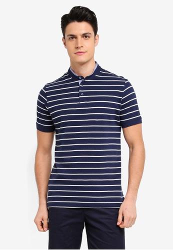 MANGO Man blue Mao Collar Striped Polo Shirt 602AEAAA8DCB50GS_1