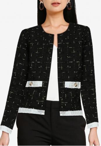 ZALORA WORK black Collarless Tweed Blazer D97D3AA93A4616GS_1
