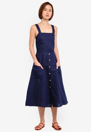 WAREHOUSE navy Linen Button Through Dress B31E1AAA700423GS_1