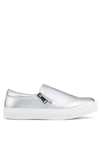 Something Borrowed silver Perforated Slip Ons DE5C9SH8A3AB64GS_1