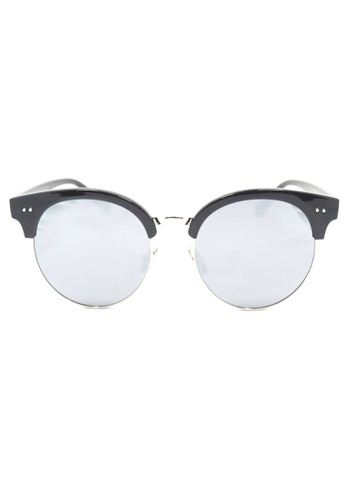 Kyfer's Eyewear & Essentials black and silver Oversize Studded Clubmaster Sunglasses KY376AC83MDSSG_1