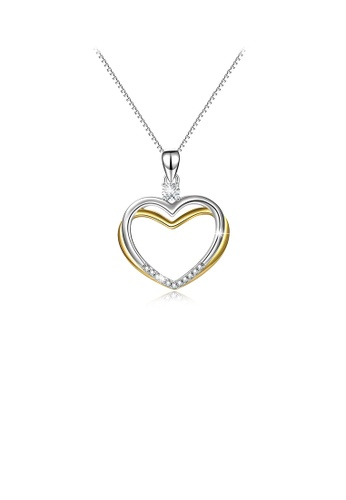 Glamorousky white 925 Sterling Silver Simple and Fashion Two-tone Heart Pendant with Cubic Zirconia and Necklace A968CAC1355B76GS_1