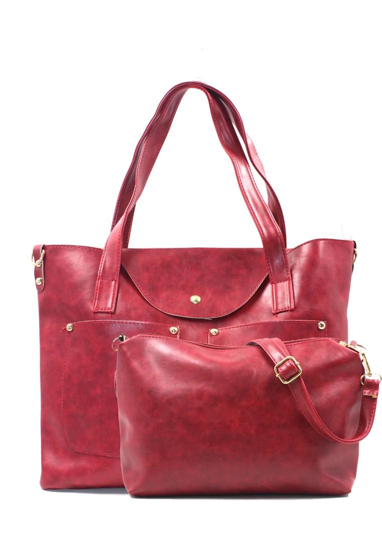 Vintage Paris Taegan Leather Shoulder Bag (Red)