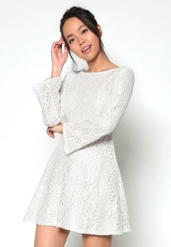 長寬袖esprit台灣outlet修身傘擺蕾絲洋裝, 服飾, 洋裝