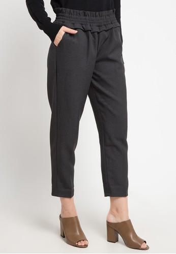 MEITAVI'S grey Ruffle Waist Straight Pants 08BF7AADF490BCGS_1