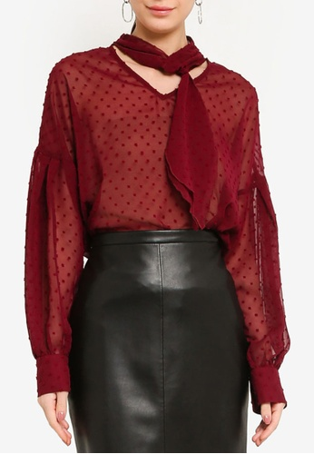 ZALORA WORK 紅色 Long Sleeves Blouse With Tie Detail 4835DAA6D0DD6BGS_1