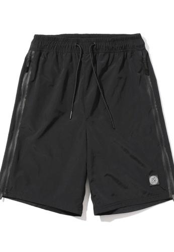 Fingercroxx black Side zip drawstring shorts EC6A1AA1185E71GS_1
