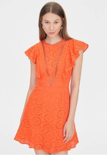 Pomelo orange Butterfly Sleeves Eyelet Dress - Orange AE339AA2BC937BGS_1