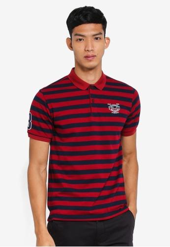 Fidelio 紅色 短袖條紋POLO衫 02315AA93D720CGS_1