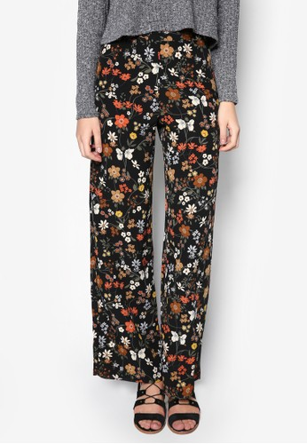 Dark Floral Wide zalora 衣服尺寸Leg Trousers, 服飾, 服飾