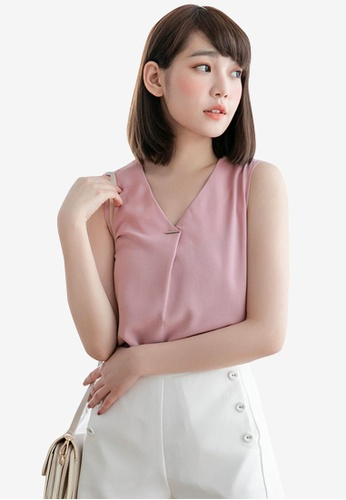 Eyescream pink Minimalist V-Neck Top 9E443AAB174149GS_1