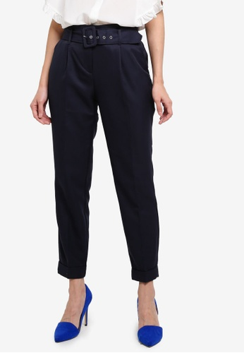 Dorothy Perkins navy Navy Twill Belted Trousers 4F322AA8CF1B0EGS_1