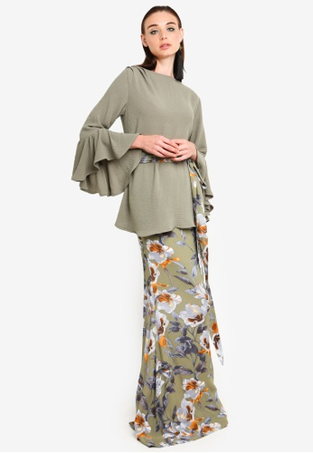 Iris Ruffled Sleeve Kurung from Justin Yap Collection in orange and Multi