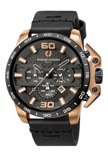 Charles Jourdan black Charles Jourdan Men CJ1044-1535C Black Genuine Leather Watch DC1CCAC61833B7GS_1