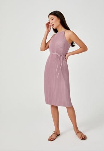 Love, Bonito pink Sitara Micro Pleat Halter Neck Midi Dress 613C0AAE6E1AA0GS_1
