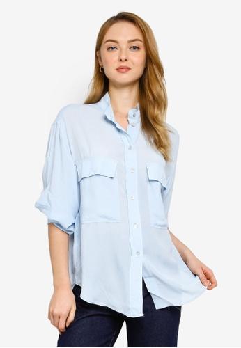 Mango blue Casual Plain Shirt 60649AAEB00A57GS_1