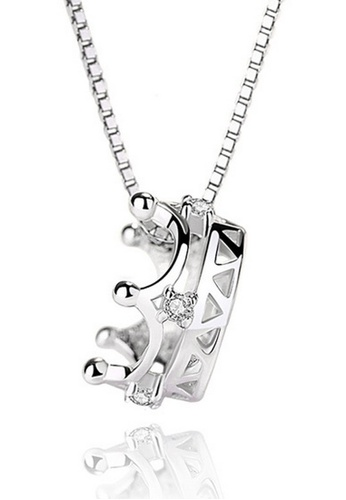 LYCKA silver LPP03618 S925 Silver Royal Crown Necklace D2B13ACD49FB34GS_1