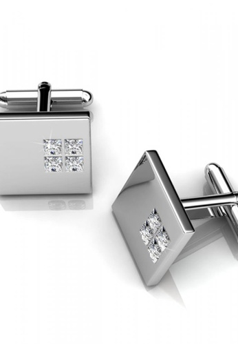 Her Jewellery silver Swarovski® Crystals - Square 2 Cufflinks (18K White Gold Plated) Her Jewellery HE581AC0RAE7MY_1