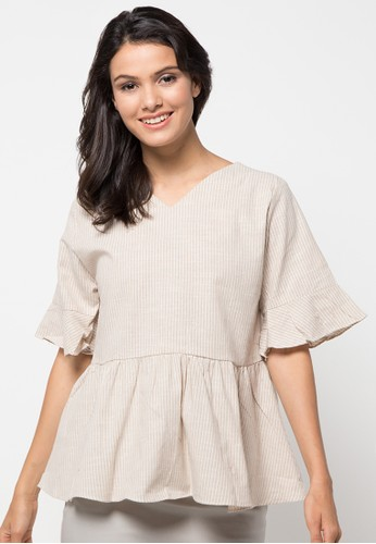 ECLAT APPAREL brown Knotted Sleeve Blouse EC565AA63PVCID_1