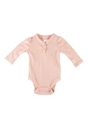 GAP pink Long Sleeves Polka Dots Bodysuit 1DEE9KAA69AFBEGS_1