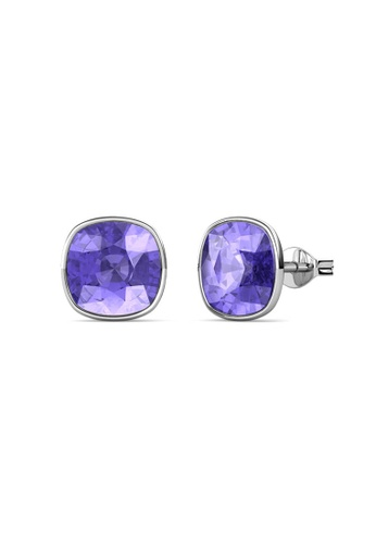 Her Jewellery purple and silver Amethyst Earrings (Purple) - Made with premium grade crystals from Austria CC14BAC1B37AB5GS_1