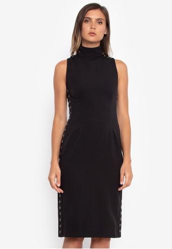 NOBASIC black Eyelet Midi Dress A415FAA52E473BGS_1