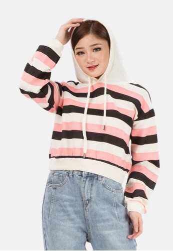 MKY Clothing black and pink Candy Stripe Hoody Sweater in Black 7C12BAAE923347GS_1