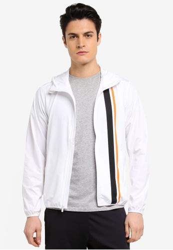Calvin Klein white Stripe Hood Wind Jacket - Calvin Klein Performance 8F3F5AA5199DC7GS_1