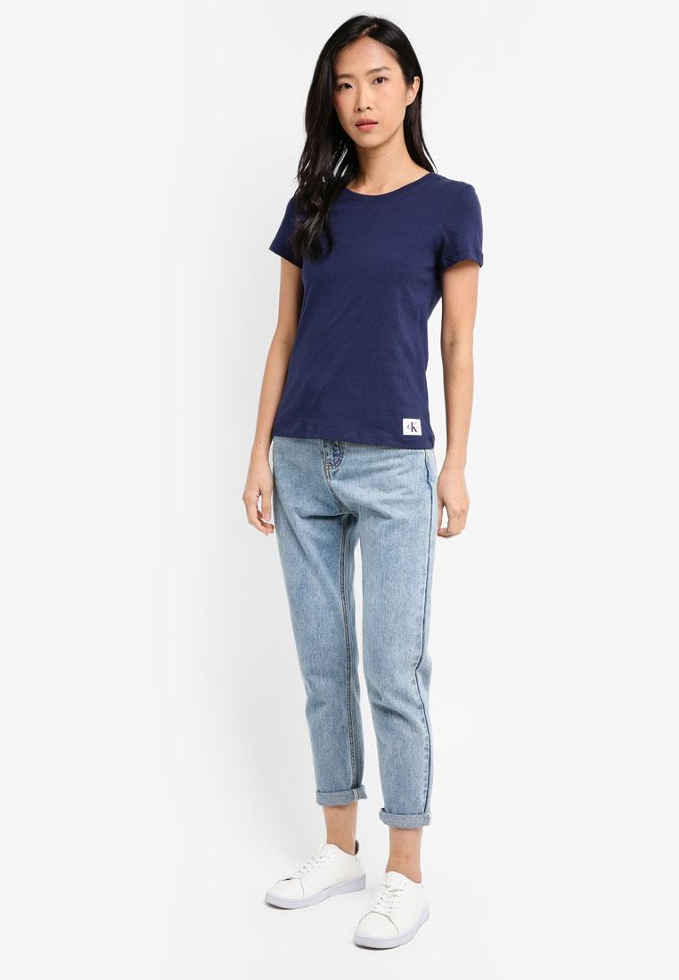 Calvin Basic Calvin Top Crew Neck Short Peacoat Klein Jeans Sleeve Klein X414wrq