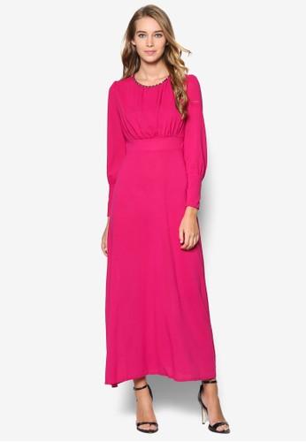 Roja 閃鑽圓領長袖長洋裝, esprit服飾服飾, 洋裝