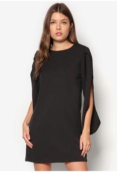 Spliced Sleeves Shift Dress