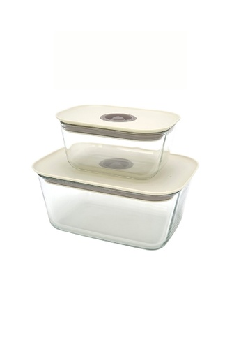 Neoflam beige NEOFLAM Clik Borosilicate Glass Heat Resistance Airtight Food Storage (Set 1 - 470ml+1380ml) C245AHL997DAF1GS_1