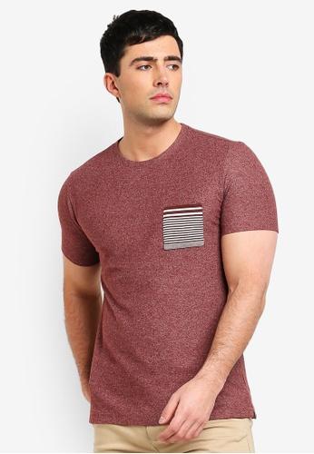 MANGO Man 紅色 條紋印花口袋T恤 0E151AA12F44C1GS_1