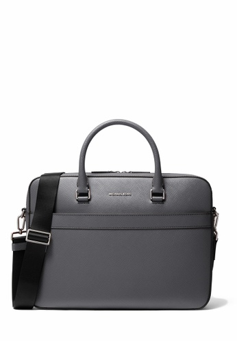 MICHAEL KORS grey Michael Kors Harrison Saffiano Leather Front-Zip Mens Briefcase - Grey AE781AC8B800D4GS_1