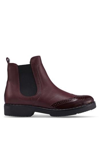 Dune London red Quark Brogue Chelsea Ankle Boots CB9DDSHDB2E3DEGS_1