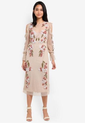 TOPSHOP beige 3D Floral Shift Dress B342DAAB720E5AGS_1