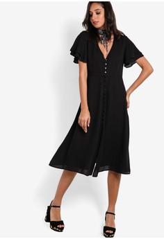 【ZALORA】 Collection 直排鈕扣V領短袖連身裙