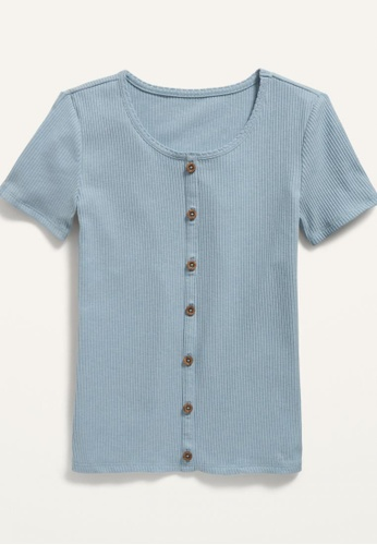 Old Navy blue Girls Rib-Knit Button-Front Short-Sleeve Top 72898KAEED162BGS_1