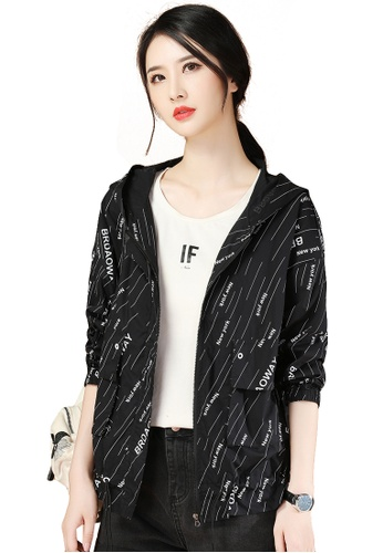 A-IN GIRLS black and white Loose Hooded Printed Jacket 80AD4AA0B7DCB5GS_1