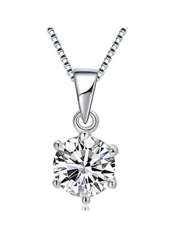 YOUNIQ silver YOUNIQ Hexagon 925 Sterling Silver Necklace Pendant with White Brilliant Cut Cubic Zirconia 8D05CAC9A30EFCGS_1