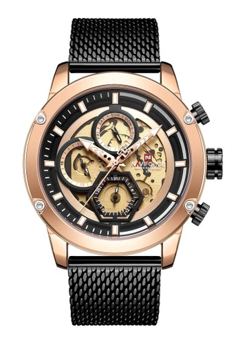 NAVIFORCE black Naviforce Rose Gold and Black Stainless Steel Mesh Watch FEA32ACE15A892GS_1