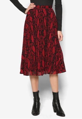 蛇esprit 羽絨外套紋印花層次褶飾及膝裙, 服飾, 裙子