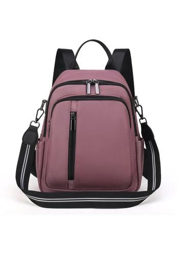 Lara pink Women's Capacious Oxford Cloth Zipper Backpack Shoulder Bag - Pink 610BAACB4FF95FGS_1