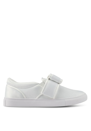Velvet white Big Bow Detailed Slip On 5DB0ASHF60EC82GS_1