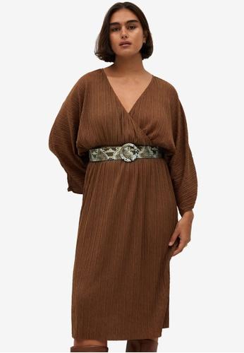 Violeta by MANGO brown Belt Pleated Dress AA051AAB05F7FBGS_1
